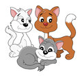 Cartoon kittens illustration of group of cute little happy smiling cats design illustrated on a white background Royalty Free Stock Image