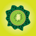 Cartoon kiwi the slice in on a light green background juicy Stock Photos