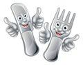 Cartoon Knife And Fork Cutlery...