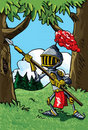 Cartoon knight in armour with a spear Stock Images