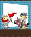 Cartoon knight card Stock Image