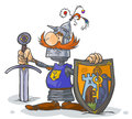 Cartoon knight with coat of arms illustration a sword and shield Stock Photos