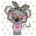 Cartoon Koala girl with a bow and glasses
