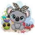 Cartoon Koala, owls and crab on the beach Royalty Free Stock Photo