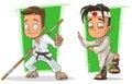 Cartoon kung fu boys in white kimono character vector set
