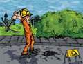 Cartoon of labourer using a pick axe Stock Photography