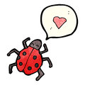 Cartoon ladybug retro with texture isolated on white Royalty Free Stock Photography