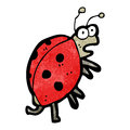Cartoon ladybug retro with texture isolated on white Royalty Free Stock Image