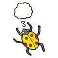 Cartoon ladybug with thought bubble Stock Image