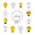Cartoon lamp light bulb design flat vector illustration electric idea bright graphic solution concept. Royalty Free Stock Photo