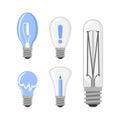 Cartoon lamp light bulb design flat vector illustration electric idea bright graphic solution concept.