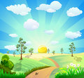 Cartoon landscape background Royalty Free Stock Image