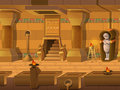 Cartoon landscape inside Egyptian tomb, vector unending background with separated layers.