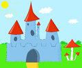 Cartoon landscape with a magic castle vector illustration Royalty Free Stock Photos