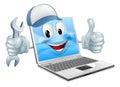 Cartoon laptop computer repair mascot Royalty Free Stock Photo