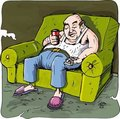 Cartoon of lazy drinking man Stock Photo