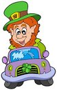 Cartoon leprechaun driving car Royalty Free Stock Photos