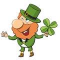 Cartoon leprechaun with lucky clover over white Royalty Free Stock Photography
