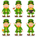 Cartoon leprechaun st patrick s day set collection of six characters in different positions and expressions isolated on white Stock Photography