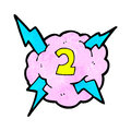 Cartoon lighting storm cloud symbol with number two Royalty Free Stock Photos