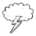 Cartoon lightning bolt and cloud black white line in retro style vector available Stock Photo