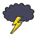 Cartoon lightning bolt and cloud hand drawn illustration in retro style vector available Royalty Free Stock Images