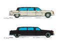 Cartoon limousine over white background Stock Images
