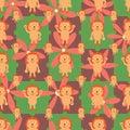 Cartoon lion symmtery flower seamless pattern Royalty Free Stock Photo