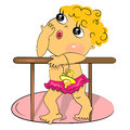 Cartoon little baby standing in bed Royalty Free Stock Photos