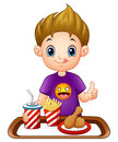 Cartoon little boy with a fast food giving thumbs up