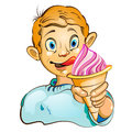 Cartoon little boy with ice cream eating strawberry Royalty Free Stock Image