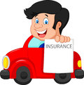 Cartoon little boy notify to join insurance illustration of Royalty Free Stock Photography