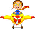 Cartoon little boy operating a plane illustration of Royalty Free Stock Images