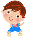 Cartoon Little boy with pencil Royalty Free Stock Photo