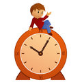 Cartoon little boy on vintage clock sitting vector illustration Stock Photo