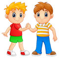 Cartoon little boys shaking hands Royalty Free Stock Photo
