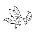 Cartoon little dragon black and white line in retro style vector available Stock Photo