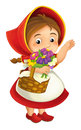 Cartoon little girl with lunch basket and flowers waving hand greeting