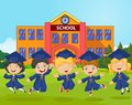Cartoon little kids celebrate their graduation on school background