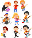 Cartoon little kids playing music