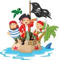 Cartoon Little kids trapped in areas of the island treasure Royalty Free Stock Photo