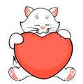 Cartoon little kitten with heart Stock Images
