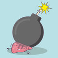 Cartoon liver with bomb