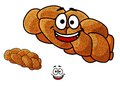 Cartoon loaf of plaited bread with poppy seed freshly baked gourmet and a happy smiling face isolated on white Royalty Free Stock Images