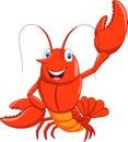 Cartoon lobster waving Royalty Free Stock Photo