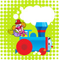 Cartoon locomotive with a clown the illustration shows funny toy on green background as well as circus as motorman illustration Royalty Free Stock Photography