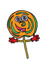 A cartoon lolipop lolly as character Stock Images