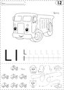 Cartoon lorry and lion. Alphabet tracing worksheet: writing A-Z