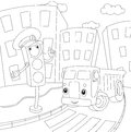 Cartoon lorry and traffic lights. Coloring book for kids