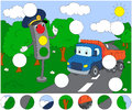 Cartoon lorry and traffic lights. Complete the puzzle and find t